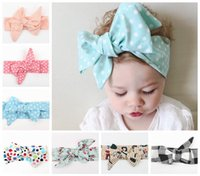Wholesale Kids Cotton Headbands - 2016 baby floral headbands girls polka dot hair bows fashion kids plaid hair accessories children knot bowknot hairbands boutique headwrap