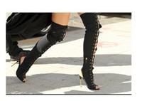 bota larga de encaje al por mayor-Envío gratis Bombas de gamuza cuero 10.5cm Matel de tacón alto Peep toe con cordones sobre la rodilla botas largas Zapatos sandalias 35-42