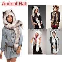 Wholesale Polar Bear Animal Hats - 2017Winter Siamese Gloves Hat Animal Cartoon Bear Brown White Polar Shape Pocket Imitation Leather and fur Hats Scarves Gloves Warm Ear Cap