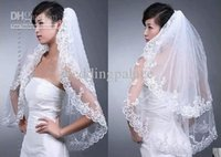 Wholesale Embroidery Fingertip Length - Hot Sale In Stock Elegant White Wedding Bridal Veil 2T for Wedding Dress Embroidery Edge New
