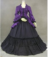 Wholesale Cosplay Victorian Dress Blue - Purple Halloween Cosplay Long Sleeves Cosplay Costumes Gothic Victorian Witch Dress Ball Gown Queen Lolita Dress