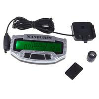 Wholesale Motorcycle Speedometer Sensor - MANBUREN Multifunctional Rainproof Import Sensors LCD Backlit Bicycle Computer Wide Screen Motorcycle Bike Speedometer Odometer 2017