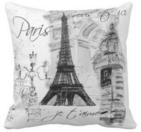 Wholesale Color Collage - Paris eiffel tower collage black white throw pillow 50% cotton and 50% linen material color as shown 16x16inch 18x18inch 20x20inch