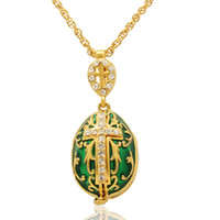 pendentif anges achat en gros de-Maria Jesus et deux anges pendentif médaillon croix Fabergé oeuf fait main couleur émail pendentif oeuf russe chaîne collier inclus