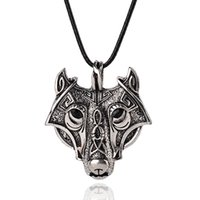 Wholesale wholesale wolf head pendant necklace - Punk Necklace For Men Norse Vikings Vintage Wolf Head Rope Chain Pendant Necklace 6