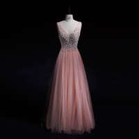 Wholesale Long Gowns For Women - Fashion Evening Dresses 2017 Sexy Crystals Deep V-Neck Backless Tulles Long Prom Party Gowns for Women