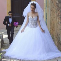 Wholesale New Arrival Top Wedding Gowns - 2017 New Arrival Arabic Ball Gown Wedding Dress Crystals Lace Appliques Embroidery Illusion Top Vestido De Novia White Wedding Dresses