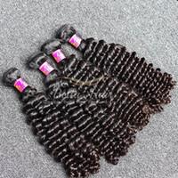 ingrosso marche di tessuti per capelli-Capelli originali di marca! 2pcs / lot 7A 10 ~ 24inch Deep Wave Hair tesse le estensioni peruviane non trattate dei capelli umani Trasporto libero