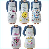 Wholesale Styles Cartoon Bib Apron Cute Sleeveless PVC Waterproof Kitchen Cooking Aprons For Women Girl Handwork Aprons