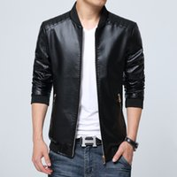 Wholesale Leather Motorcycle Jackets Mens - Fall-2016 New Autumn Pu Leather Jacket Men Jaqueta De Couro Masculina Brand Mens Jackets And Coats Chaqueta Hombre Motorcycle Jackets