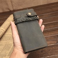 Wholesale Waxed Nylon - Wholesale- Handmade Crazy Horse Leather wallet Natural Cowhide Waxed Vintage Leather Purse for men with woven rope brown oiled long old