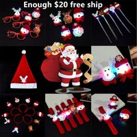 broche de navidad de luz intermitente al por mayor-Juguete de iluminación de navidad barrette luminoso flash broche juguetes sombrero de navidad