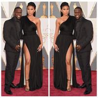 Wholesale Ribbons Awards - 2016 Inspired by Oscar Awards Black One Shoulder Sleeveless Side Slit Long Black Evening Dresses Prom Dresses Celebrity Party Gowns