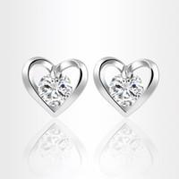 Wholesale Earring Heart Small - Elegant Women Zircon Earrings Korean Heart Stud Earrings Vintage Silver Gold Plated Fashion Small Jewelry boucle d'oreille