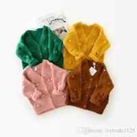 Wholesale Kids Cardigan Sweater Girls - In stock 4 color INS styles new arrival round collar children long sleeve 100% Cotton cardigan kids girl casual cute cardigan sweater coat