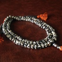 Wholesale Mala Bones - Tibetan Buddhist 108 Beads Bracelet Yak Bone Rosary Necklace 8mm Tibet Hand Painted Mantras Prayer Mala Bracelet Men Jewelry