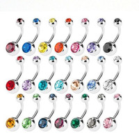 Wholesale Green Alexandrite - New Stainless Steel belly button rings Navel Rings Crystal Rhinestone Body Piercing bars Jewlery for women's bikini fashion Jewelry