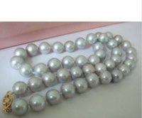 Wholesale Gray White Pearl Necklace - 2017 NEW AAA 9-10mm natural tahitian gray pearl necklace 14K white gold 18 inch