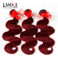 Wholesale Cheap Red Human Hair Extensions - Burgundy Brazilian Virgin Hair Weave Bundles Brazilian Body Wave Wavy Hair 3Pcs Lot Wine Red 99J Cheap Human Hair Extensions Tangle Free