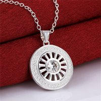 Wholesale Gemstone Buttons - Best gift women's Button buckle shape pendant necklace white gemstone sterling silver necklace STSN692,brand new fashion 925 silver necklace