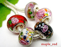 Wholesale beautiful glass beads - 50pcs Lot mixed Beautiful Flower Glass 925 silver core Beads for Jewelry Lampwork Charms DIY Beads for Bracelet Wholesale in Bulk Low Price