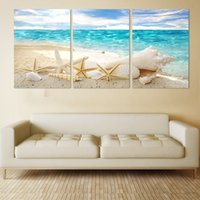 Wholesale Shell Oil Paintings Modern - 3 Pieces Of Wall Art Deco Seaview Sea Shells Modern Fashion Picture Print On Canvas Painting, Oil Paintings ,Home Decoration no frame