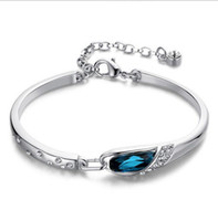 Wholesale Low Price Sterling Silver Charms - Wholesale 2016 Fashion Jewelry New Crystals Women Bracelet Blue Silver Charm Bracelets Bangles Low Price Lucky Bracelet For Woman