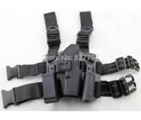 Wholesale Drop Leg Mag - For Glock 17 19 22 23 31 32 Tactical Airsoft Drop Leg Right handed holster W  Panel Mag Flashlight Pouch Belt Loop