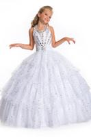 ingrosso yellow halter top dress-2016 abiti da spettacolo della nuova ragazza alta paillettes di cristallo halter morbido frizzante di tulle abiti da sposa per bambini da sposa abiti da sposa