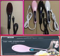 Wholesale Wholesale Knobs China - Update US UK AU EU Plug Fast Hair Straightener NASV Beautiful star Styling Flat Iron Comb HQT-906 Brush LCD Digital Temperature Control