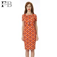 Flora Printed Dresses square neck shift dress - 2016 New Fashion Women Square Collar Have belt Short Sleeve Plaid Sheath Shift Party Cocktail Patchwork Career Dress