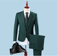 Costume Homme Vert Bon Marché Pas Cher-Vente en gros - Cheap Slim Fit One Button Groom Tuxedos Groomsman Best Man Party Hommes Costumes Verts Hommes Habillement Professionnel (Veste + Pantalon + Veste)