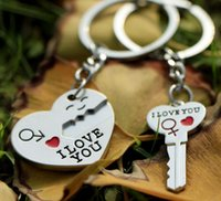 Wholesale Stainless Steel Jewelry Engraved - Lover Jewelry Heart and Key Stainles Steel Key Chains Promotion Gift I love you Key Ring Personalized DIY Engrave Logo Supported