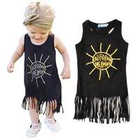 Wholesale California Clothing - tassel girls dresses summer 2016 high quality sun toddler girl dress fashion letter california dreaming kids dresses for baby girl clothes