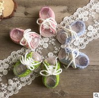 Wholesale Girl Lace Crochet - Newborn shoes baby girls handmade knitting soft indoor shoes babies lace-up bows first walkers fashion baby cotton crochet bed shoes T5043