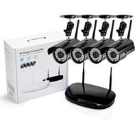 netzwerk nvr für ip-kameras großhandel-4CH 720P WIFI NVR 1.0MP HD IP-Netzwerk CCTV-Kamera P2P WIFI Home Outdoor Überwachungskamera Überwachung CCTV-System-Kits