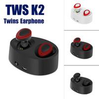Wholesale Earphone Earbuds Headphone - TWS K2 Twins Earphone Bluetooth Wireless In-ear Earphones Mini Headphones TwinsEarphone For i phone 6s Smart Phone Portable in Earbuds