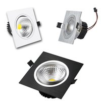 downlight blanco cuadrado al por mayor-Cuadrado Dimmable llevó Downlight 9w 12w 15w 20w COB Led encajado abajo luces de plata / blanco / negro + Led Drivers