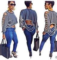 Wholesale Short Wind Coat - 2016 Tide brand Women casual sweater coat Fashion boyfriend wind Holes Hollow Long sleeves Tops Personalized nightclub blouse