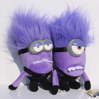 Wholesale Minions Dolls - EMS Free Shipping To UK Despicable me 2 Purple Evil minion 30cm 3d Plush doll toy Christmas Gift 12 inch For Children kids