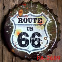 Gros Usa Signes Métalliques Millésime Pas Cher-Vente en gros - USA ROUTE 66 Bouchon de bouteille de route Plaque de plaque métallique décorative Vintage Pub Wall Art Signature en métal Vintage Home Decor 35 CM