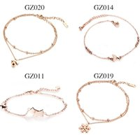 Wholesale Trendy Products - New products listed Stainless Steel rose gold women anklets Many optional free shipping