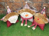 Wholesale Stuffed Santa Claus Sale - Hot sale Snowman Santa Claus elk 3 kinds Soft Five Star Cushion Pillow Sofa Stuffed Plush Toy Doll Christmas window parlour decoration