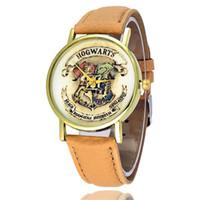 relojes vintage de mujer al por mayor-Relojes de pulsera de los hombres de la Mujer Hogwarts Escudo Vestido de moda Relojes Cuero Reloj de cuarzo Personalidad Casual Reloj Vintage Relogio W0464