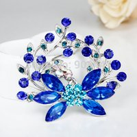 Wholesale Mixed Brooches For Sale - 1PCS-BR005 5.8x6cm Hot Sale Fashion Blue Rhinestone Mixed Crystal Flower Brooches Pins For Wedding gift,branch Brooch