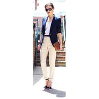 синие брюки цвета хаки для женщин оптовых-Пользовательские темно-синий пиджак брюки цвета хаки женщины деловые костюмы формальные офисные костюмы работа блейзер женские брюки элегантные брюки костюмы