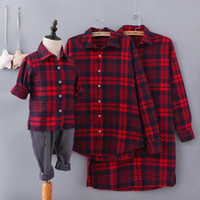 Wholesale Mother Daughter Shirts - mother and daughter clothes family matching father baby plaid shirt girls outwear boys coat children leisure casual cotton outfit QZSZ003