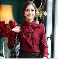 Wholesale Womens Ruffled Shirts - free shipping high quality Korean Occupational OL sweet flounced Stand Collar Slim Shirt Long sleeve shirt Silk satin Womens shirts