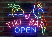 Wholesale Tiki Bar Open Signs - Brand New Larger Tiki Bar Open Parrot Beer Bar Neon Sign Real Glass Neon Sign Beer light