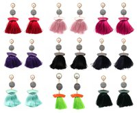 Thread Ball Dangle Pendientes Larga Franja Pendientes Pendientes Ethnic Dangle De Seda De Aleación De Borla Dangle Ear Stud Joyería Regalo D39L